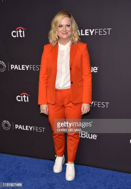 US actress Amy Poehler arrives for the PaleyFest presentation of NBC's Parks and Recreation 10th Anniversary Reunion at the Dolby theatre on March 21...