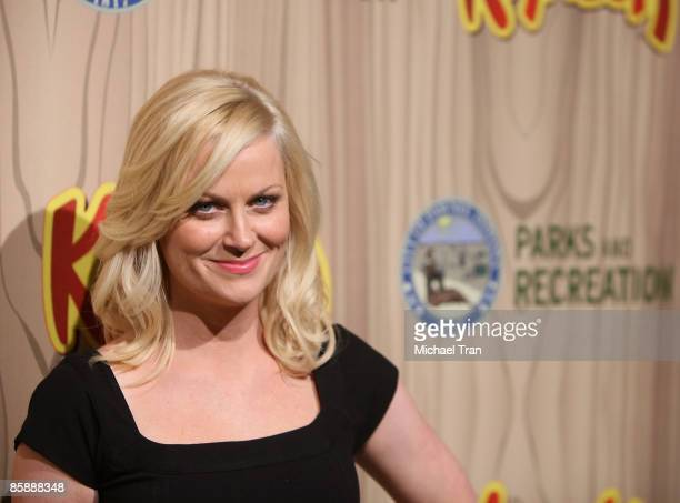Actress Amy Poehler arrives to the Los Angeles premiere of NBC's new show Parks and Recreation held at MyHouse on April 9 2009 in Hollywood California