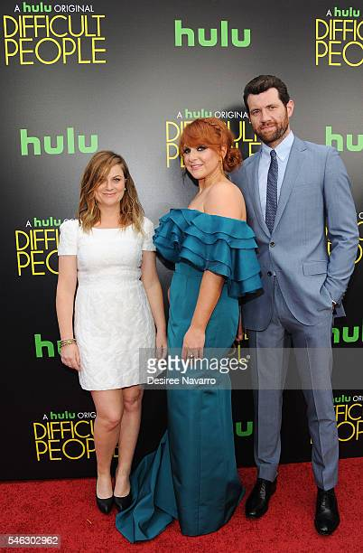 Actress Amy Poehler creator Julie Klausner and actor Billy Eichner attend 'Difficult People' New York premiere at The Metrograph on July 11 2016 in...