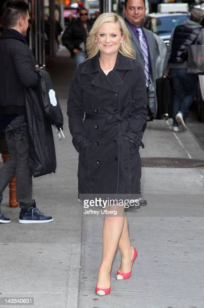 Actress Amy Poehler departs Late Show with David Letterman at Ed Sullivan Theater on April 24 2012 in New York City