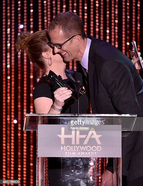 "Actress Amy Poehler presents the Hollywood Animation Award for ""Inside Out"" to honoree Pete Docter onstage during the 19th Annual Hollywood Film..."