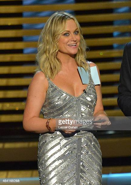 Actress Amy Poehler speak onstage at the 66th Annual Primetime Emmy Awards held at Nokia Theatre LA Live on August 25 2014 in Los Angeles California