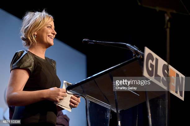 Actress Amy Poehler speaks onstage at the 10th annual GLSEN Respect Awards at the Regent Beverly Wilshire Hotel on October 17 2014 in Beverly Hills...