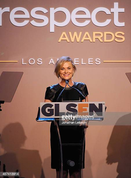 Actress Amy Poehler speaks onstage during the 10th annual GLSEN Respect Awards at the Regent Beverly Wilshire Hotel on October 17 2014 in Beverly...