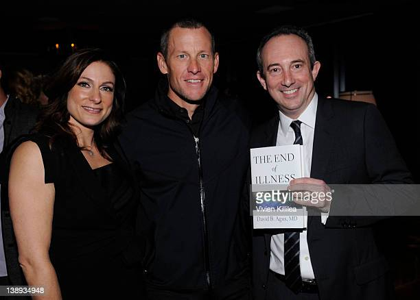 Actress Amy Povich professional cyclist Lance Armstrong and David B Agus MD attend Celebration Honoring The Publication Of The End Of Illness By Dr...