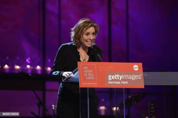 Actress Amy Redford speaks onstage during An Artist at the Table Cocktail Reception and Dinner during the 2018 Sundance Film Festival at DeJoria...