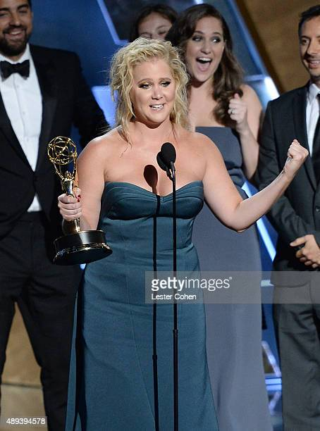 Actress Amy Schumer accepts an award onstage during the 67th Annual Primetime Emmy Awards at Microsoft Theater on September 20 2015 in Los Angeles...