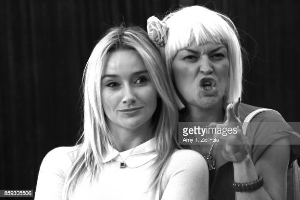 Actress Amy Shiels poses with a fan dressed as Diane during the Twin Peaks UK Festival 2017 at Hornsey Town Hall Arts Centre on October 7 2017 in...