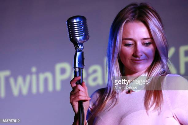 Actress Amy Shiels who played the character of Candie on Twin Peaks sings during the Twin Peaks UK Festival 2017 at Hornsey Town Hall Arts Centre on...