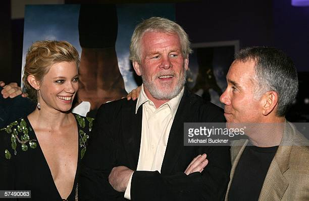 Actress Amy Smart actor Nick Nolte and author Dan Millman attend the premiere of Lionsgate's 'Peaceful Warrior' at the Laemmle Theatre on April 28...