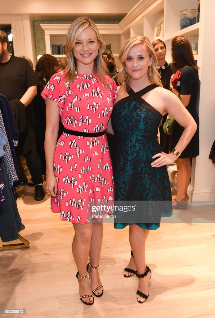 Actress Amy Smart and actress Reese Witherspoon attend Draper James VIP Grand Opening at Draper James on November 30, 2017 in Atlanta, Georgia.