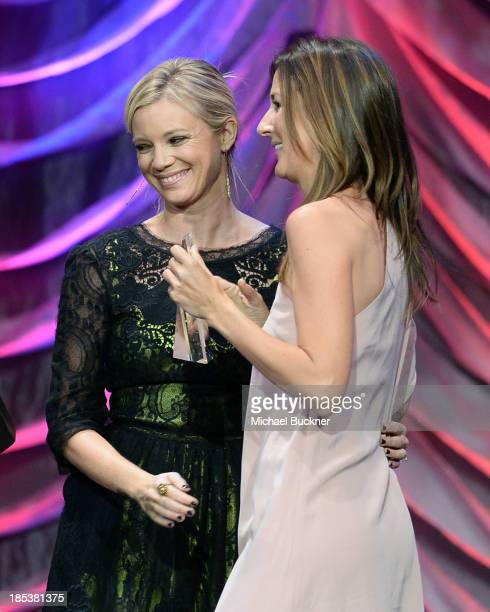 Actress Amy Smart and Anna Getty speak onstage during the 23rd Annual Environmental Media Awards presented by Toyota and Lexus at Warner Bros Studios...