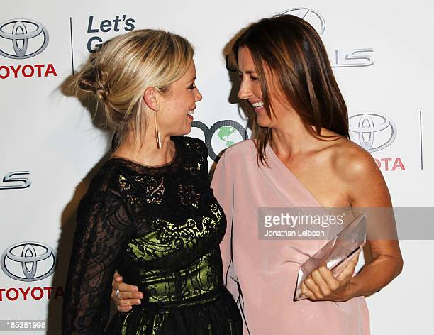 Actress Amy Smart and Honoree Anna Getty attend the 23rd Annual Environmental Media Awards presented by Toyota and Lexus at Warner Bros Studios on...