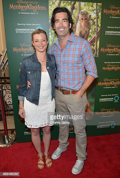 Actress Amy Smart and TV personality Carter Oosterhouse attend the world premiere Of Disney's Monkey Kingdom at Pacific Theatres at The Grove on...