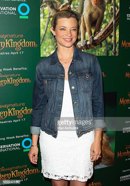 Actress Amy Smart attends the premiere of Monkey Kingdom at the Pacific Theaters at the Grove on April 12 2015 in Los Angeles California