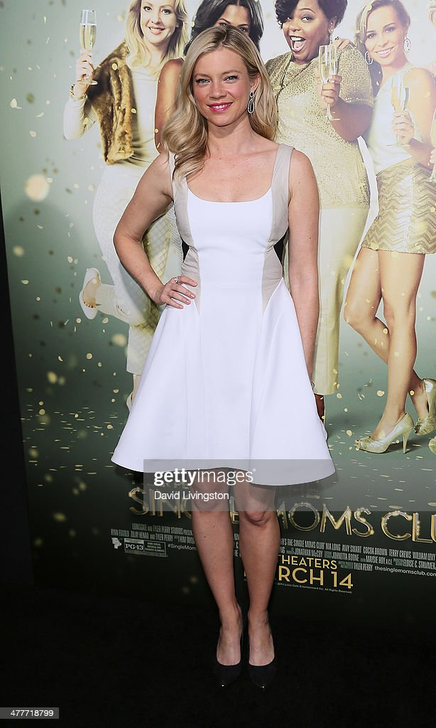 Actress Amy Smart attends the premiere of Tyler Perry's 'The Single Moms Club' at the ArcLight Cinemas Cinerama Dome on March 10, 2014 in Hollywood, California.