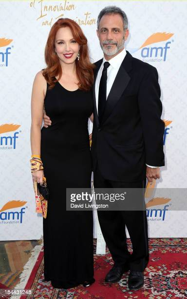 Actress Amy Yasbeck and attorney Michael Plonsker attend the 10th Annual Alfred Mann Foundation Gala in the RobinsonsMay Lot on October 13 2013 in...