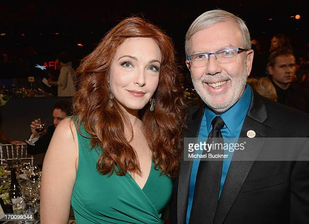 Actress Amy Yasbeck and film critic Leonard Maltin attend AFI's 41st Life Achievement Award Tribute to Mel Brooks at Dolby Theatre on June 6 2013 in...