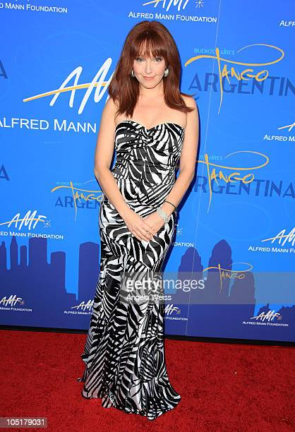 Actress Amy Yasbeck arrives at the Alfred E Mann Foundation Black Tie Gala Fundraiser at Hangar 8 Santa Monica Airport on October 10 2010 in Santa...