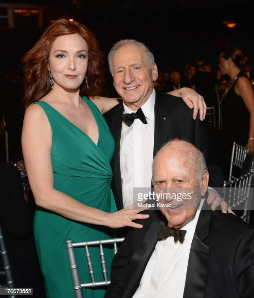 Actress Amy Yasbeck honoree Mel Brooks and actor Carl Reiner attend 41st AFI Life Achievement Award Honoring Mel Brooks at Dolby Theatre on June 6...