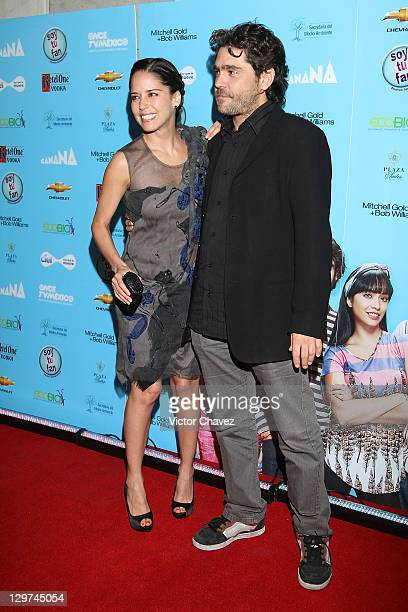 Actress Ana Claudia Talancon and actor Martin Altomaro attend the Soy Tu Fan season 2 launch at Centro Gallego on October 19 2011 in Mexico City...