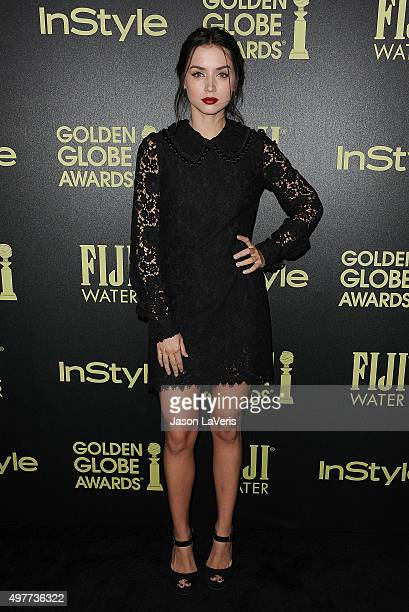 Actress Ana de Armas attends the Hollywood Foreign Press Association and InStyle's celebration of the 2016 Golden Globe award season at Ysabel on...