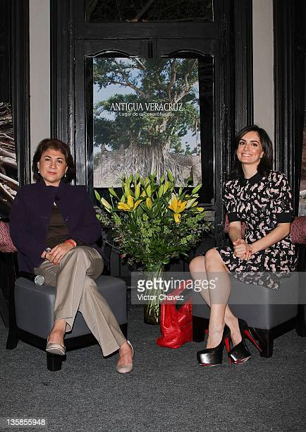 Actress Ana de la Reguera and secretary turism Veracruz Leticia Perlasca attend 'Antigua Veracruz Lugar De Raices Profundas' book launch at the Omiya...