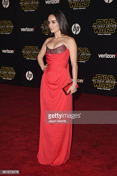 Actress Ana de la Reguera attends Premiere of Walt Disney Pictures and Lucasfilm's Star Wars The Force Awakens on December 14 2015 in Hollywood...