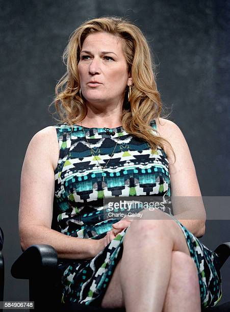 Actress Ana Gastayer of 'People of Earth' speaks onstage at the TCA Turner Summer Press Tour 2016 Presentation at The Beverly Hilton Hotel on July 31...