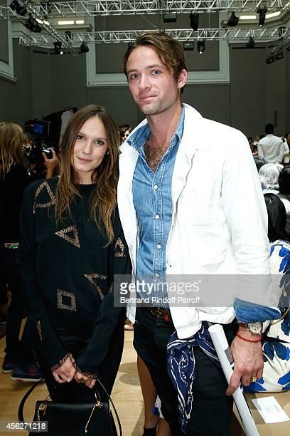Actress Ana Girardot and Louis Marie de Castelbajac attend the Chloe show as part of the Paris Fashion Week Womenswear Spring/Summer 2015 on...