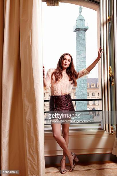 Actress Ana Girardot is photographed for Madame Figaro on June 2 2016 in the Coco Chanel suite with a view of the place Vendôme at the newly...