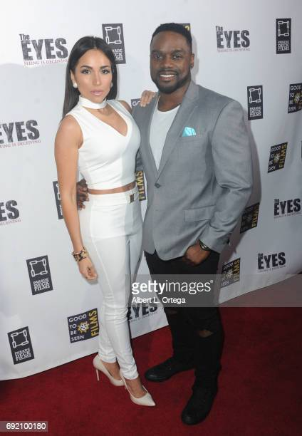 Actress Ana Isabelle and actor Greg Davis Jr arrive for the Premiere Of Parade Deck Films' 'The Eyes' held at Arena Cinelounge on April 7 2017 in...