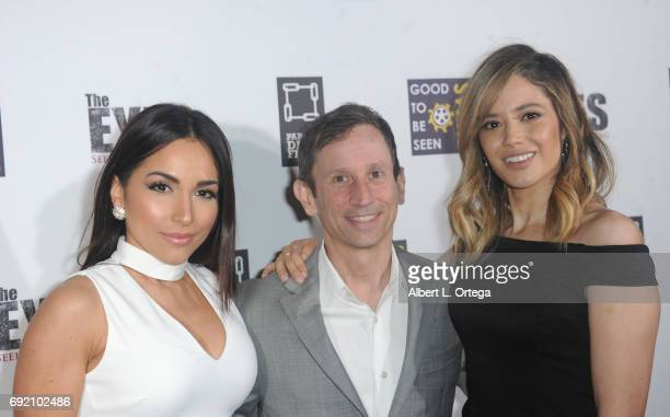 Actress Ana Isabelle director Robbie Bryan and actress Edy Ganem arrive for the Premiere Of Parade Deck Films' 'The Eyes' held at Arena Cinelounge on...