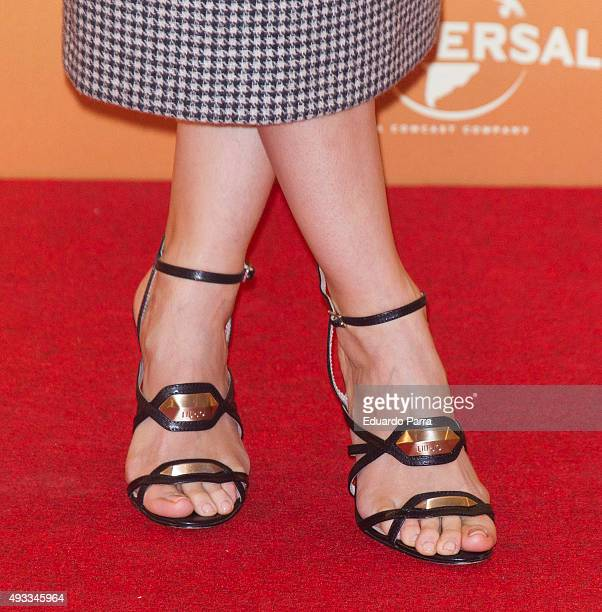 Actress Ana Maria Polvorosa shoes detail attends 'Mi Gran Noche' photocall at Hesperia hotel on October 19 2015 in Madrid Spain