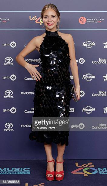 Actress Ana Mena attends the 'Los40 Music Awards 2016' photocall at Florida Park on October 5, 2016 in Madrid, Spain.