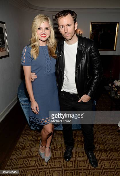 Actress Ana MulvoyTen and photographer Tyler Shields attend James Corden Vanity Fair And Burberry Celebrate The 2015 British Academy BAFTA Los...