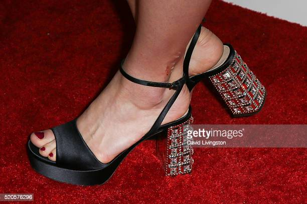 Actress Ana MulvoyTen shoe detail arrives at the Marie Claire Fresh Faces Party at the Sunset Tower Hotel on April 11 2016 in West Hollywood...