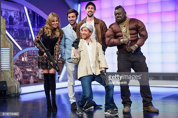 Actress Ana Obregon and TV Host Pablo Motos attend 'El Hormiguero' TV Show at Vertice Studios on March 1 2016 in Madrid Spain