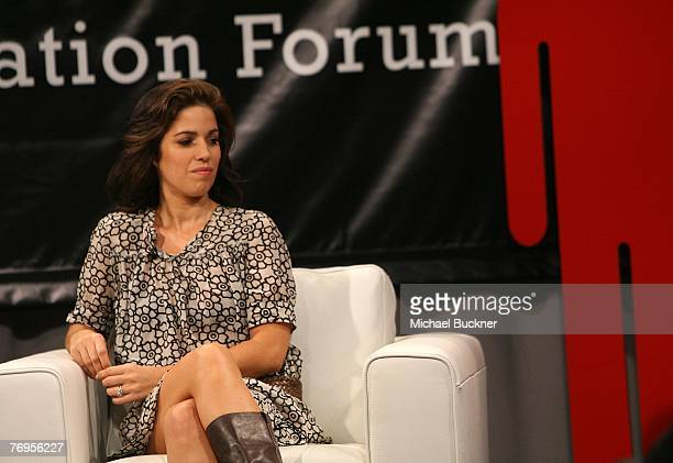 Actress Ana Oritz speaks at the taping of Beyond Borders An MTV Tr3s Immigration Forum on the campus of Cal State University Los Angeles on September...