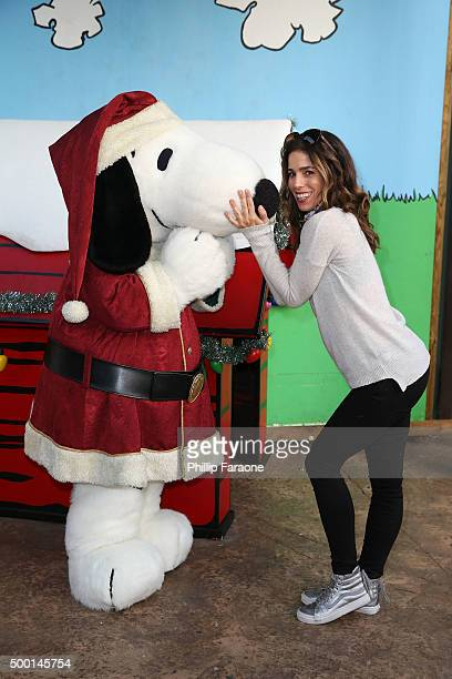 Actress Ana Ortiz and Snoopy attend Knott's Berry Farm's Countdown to Christmas and Snoopy's Merriest Tree Lighting at Knott's Berry Farm on December...