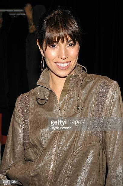 Actress Ana Ortiz backstage at the Tadashi Shoji Fall 2008 fashion show during MercedesBenz Fashion Week Fall 2008 at The Promenade at Bryant Park on...