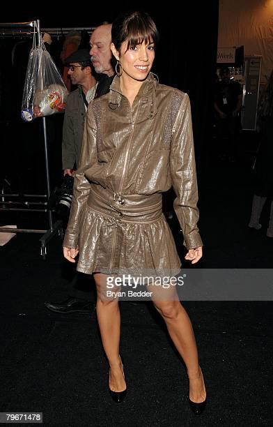 Actress Ana Ortiz poses backstage at the Tadashi Shoji Fall 2008 fashion show during MercedesBenz Fashion Week Fall 2008 at The Promenade at Bryant...