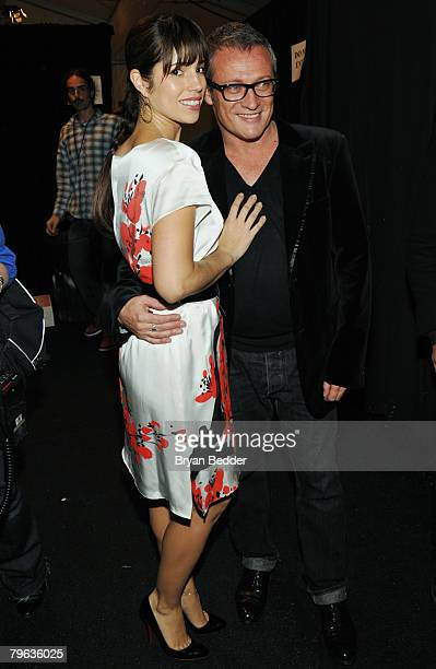 Actress Ana Ortiz poses with designer Jayson Brunsdon backstage at the Jayson Brunsdon Fall 2008 fashion show during MercedesBenz Fashion Week Fall...