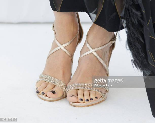 Actress Ana Polvorosa shoes detail attends the 'Harper's Bazaar summer party' photocall at Casa de Velazquez on June 28 2017 in Madrid Spain