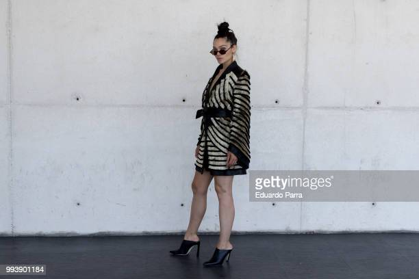 Actress Ana Rujas wears a Teresa Helbig dress Stuart Weitzman shoes and Asos earrings during the Mercedes Benz Fashion Week Spring/Summer 2019 at...