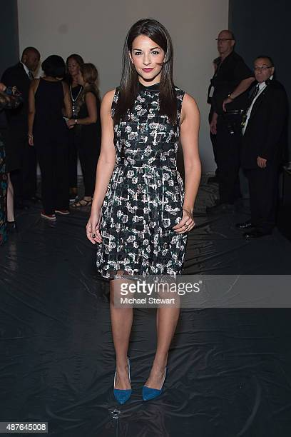 Actress Ana Villafane attends the Erin Fetherston fashion show during Spring 2016 New York Fashion Week at The Dock Skylight at Moynihan Station on...