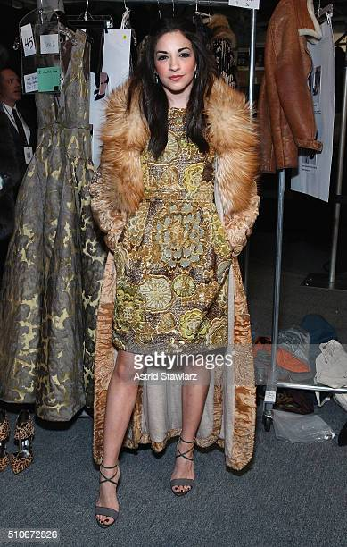 Actress Ana Villafane backstage at the Dennis Basso Fall 2016 fashion show during New York Fashion Week The Shows at The Arc Skylight at Moynihan...