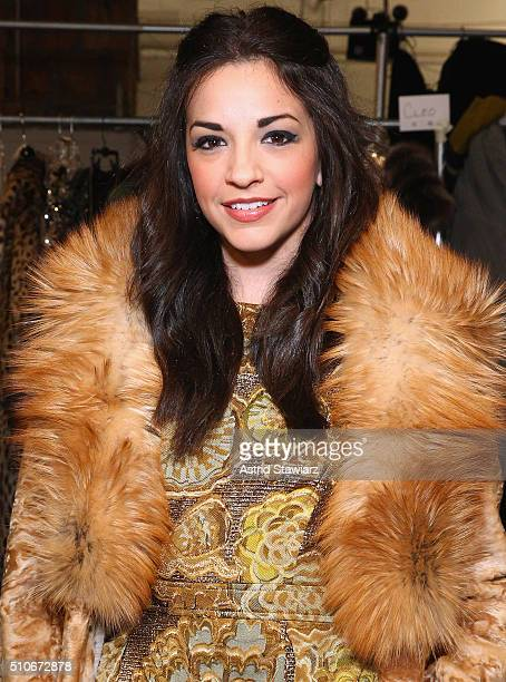 Actress Ana Villafane poses backstage at the Dennis Basso Fall 2016 fashion show during New York Fashion Week The Shows at The Arc Skylight at...
