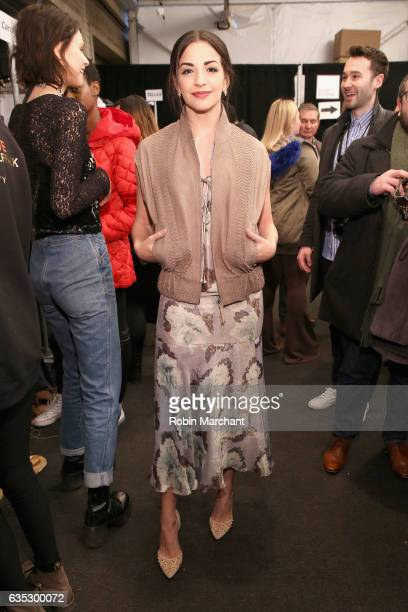 Actress Ana Villafane poses backstage for the Dennis Basso collection during New York Fashion Week The Shows at Gallery 1 Skylight Clarkson Sq on...