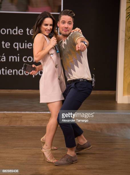 Actress Anabell Gardoqui 'Ana' de la Reguera and William Valdes are seen on the set of 'Despierta America' at Univision Studios on May 9 2017 in...
